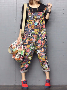 b8b8acedbbad2 Women Printed Cotton Plus Size Jumpsuit Jeans