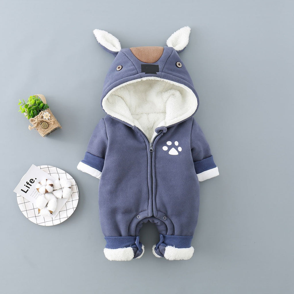 Baby Boys Girls Cute Thick Winter Hoodie Romper Jumpsuit Outfits