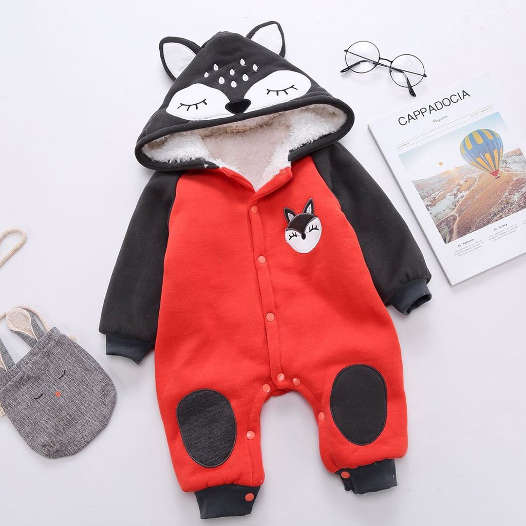 Winter Baby Rompers Baby Cotton Thicken Cartoon Hooded Boys Girls Jumpsuits Newborn Baby Clothing Infant Coverall