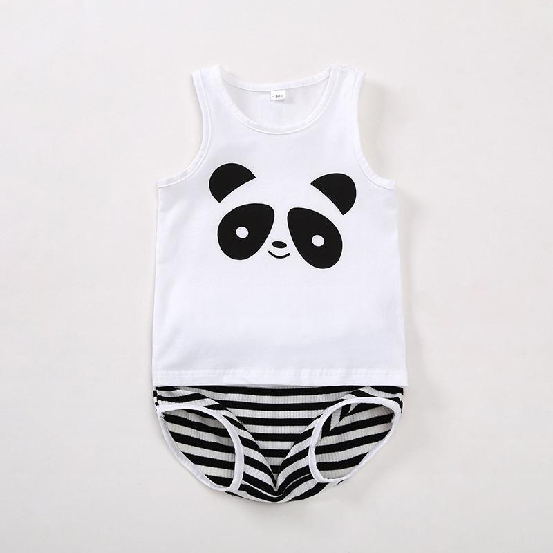 Two Pieces Children's Cotton Cartoon Sleeveless Home Wear