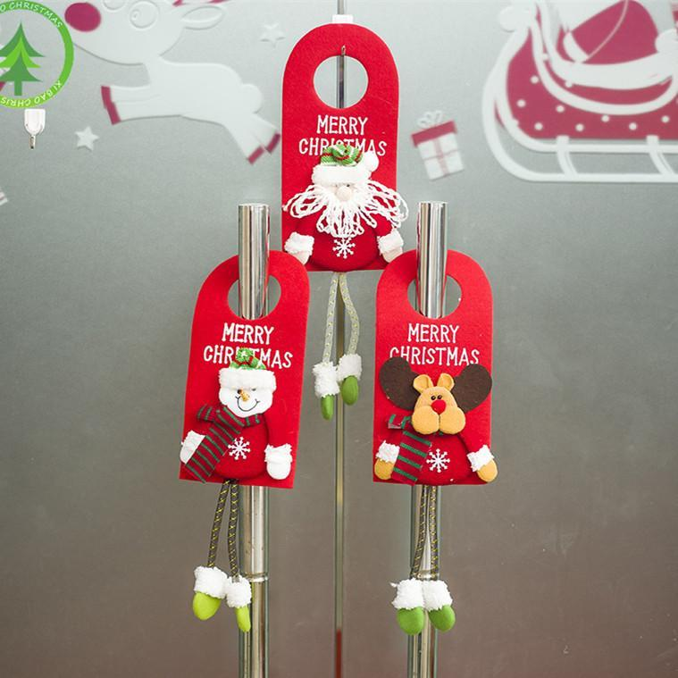 1 PIC Christmas Decoration Santa Claus&Elk&Snowman Lovely Doll Door Hanging Xmas Gift