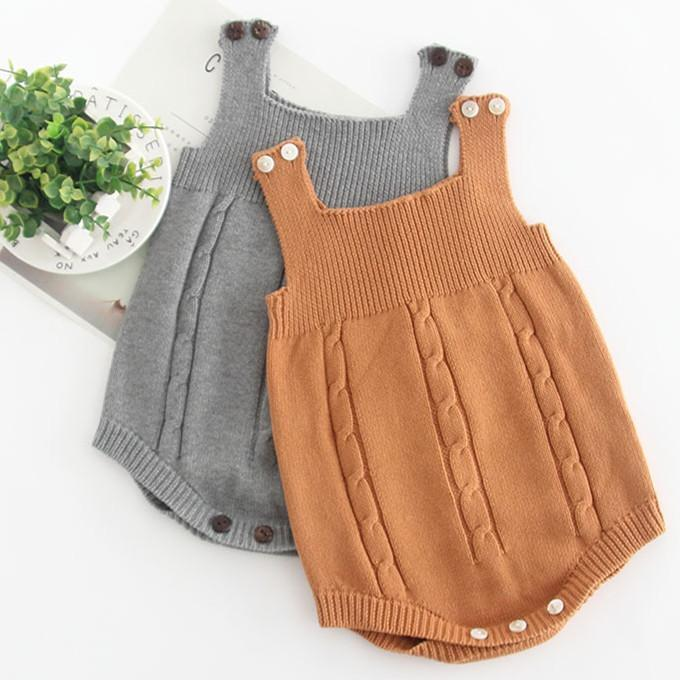 Baby Knit Sleeveless Cotton Solid Color Jumpsuit 3-24m