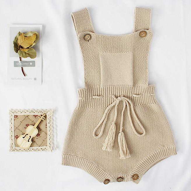 Baby Knit Sleeveless with Rope Pure Cotton Jumpsuit 3-18m