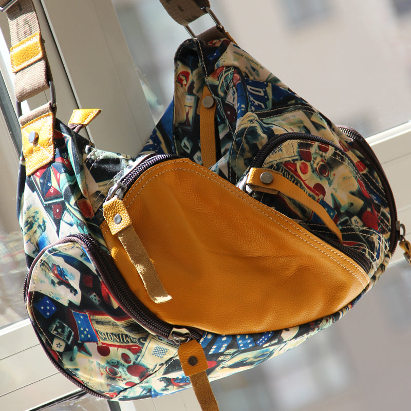 Canvas Handbags with Leather Multi-pocket Hit Color Casual Shoulder Messenger Bag Art Fresh College Style