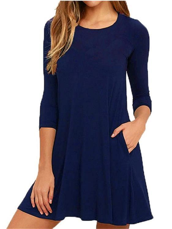 3/4 Sleeved O-neck Tunic Dress With Pockets S-XXL