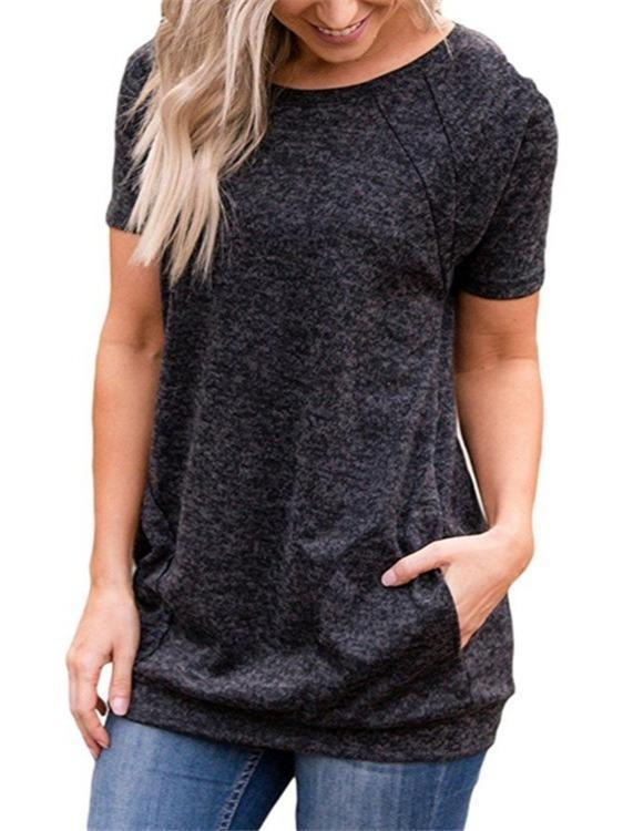 Fashion Short Sleeve T-shirts Tops With Pockets