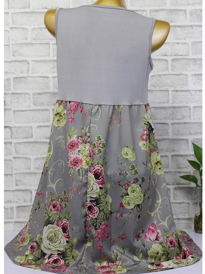 Floral Printed Sleeveless Lace Stitching Dresses S - XXXXXL 3 Colors
