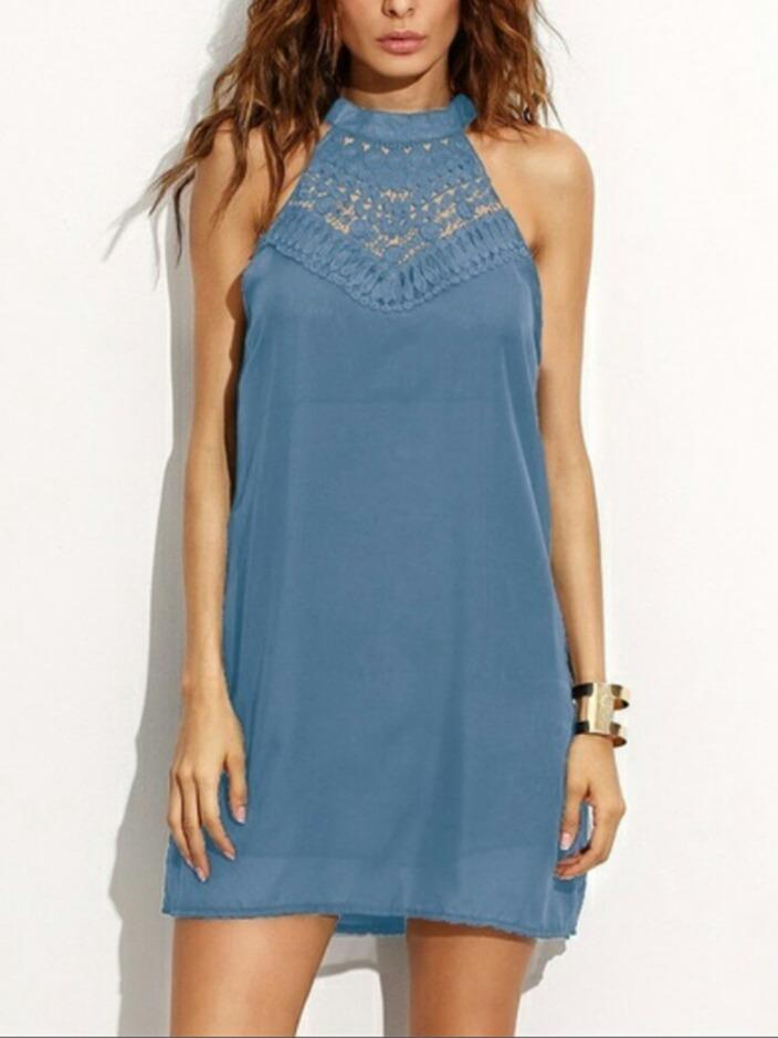 Lace Stitching Sleeveless Keyhole Beach Dress