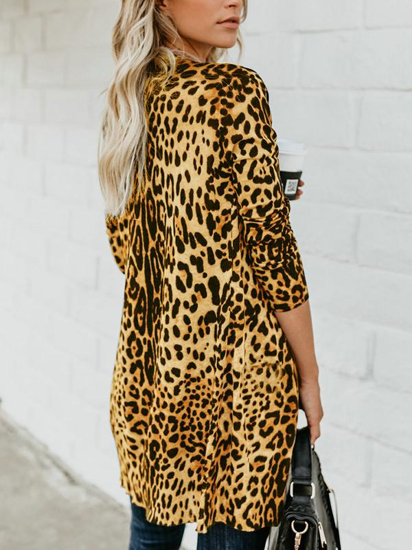 Sexy V-neck long-sleeved button leopard print jacket