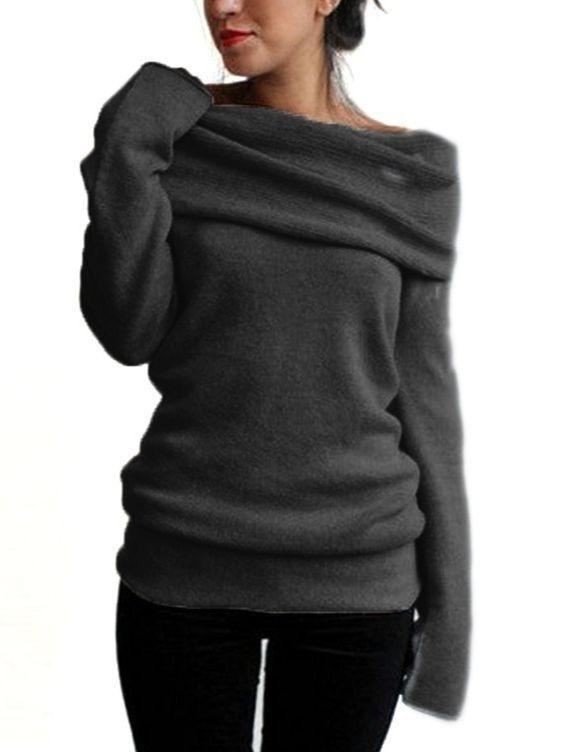 Womens Plus Size Long Sleeve Loose Pullover Boat Neck Soft Sweatshirt Tops
