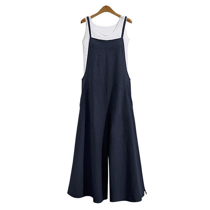 3 Color Autumn Summer Ladies Casual Loose Solid Tank Jumpsuit Long Suspender Overalls Bib Pants
