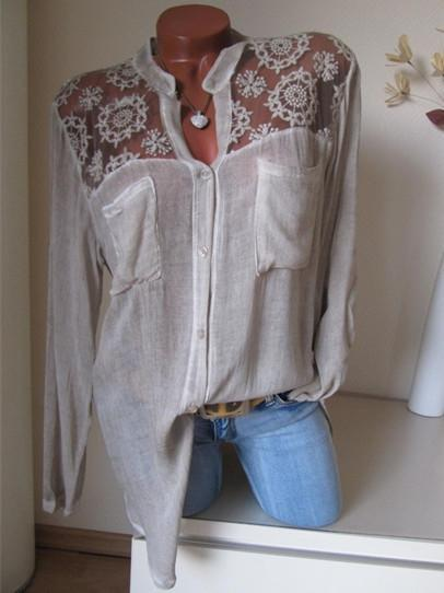 Plus Size Women Blouse Long Sleeves Lace Loose Casual Tops