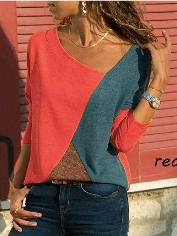 Splicing Contrast Round Neck Long Sleeve Casual T-Shirt Ladies Tops