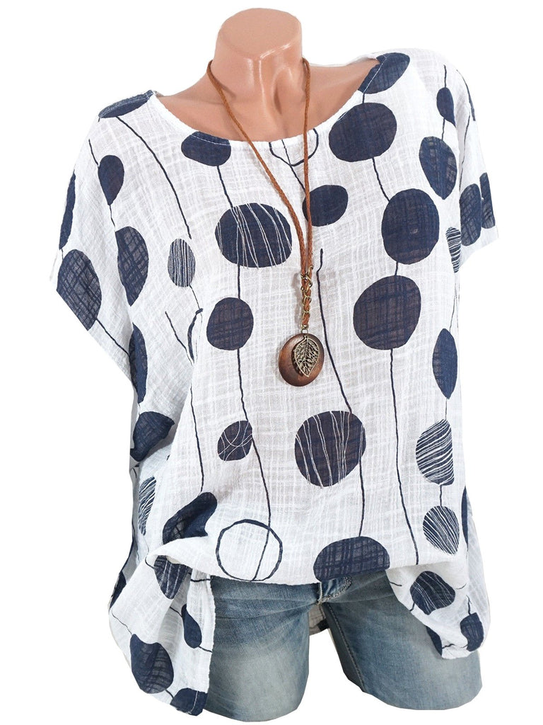 Plus Size Women Polka Dot Printed Short Sleeve Round Neck Tops S-5XL 5 Colors