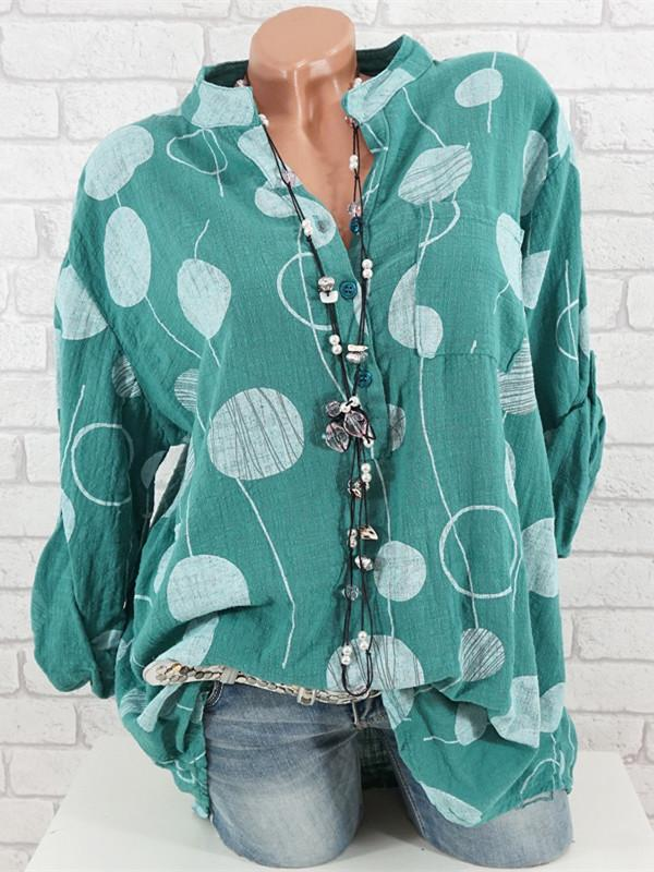 Women Big Dot Printed Long Sleeve Round Neck Plus Size Tops S-5XL 8 Color