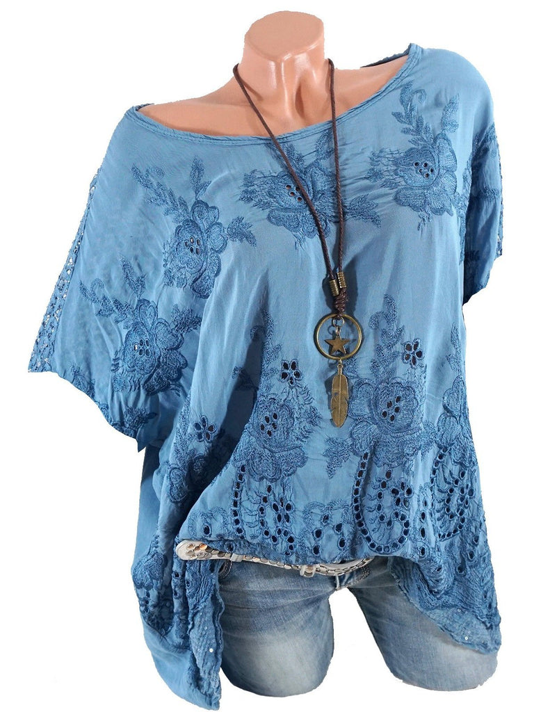 Plus Size Women Lace stitching embroidery Short Sleeve Round Neck Tops S-5XL
