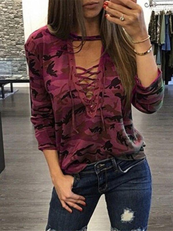 Long Sleeve Deep V-Neck Plus Size Top Blouse