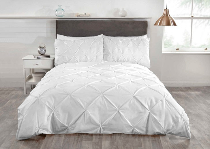 White Pintuck Duvet Cover Set Britains Bedding