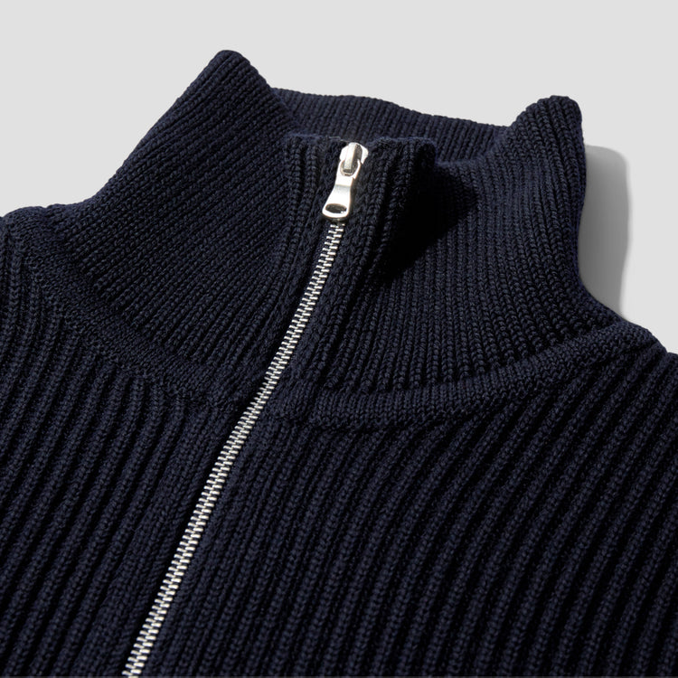 NAVY FULL-ZIP POCKET Navy