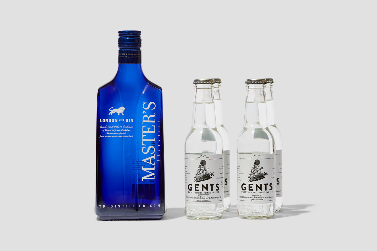 MASTER'S BAG MASTER'S DRY GIN 40% 700 ML. & 4 GENTS SWISS ROOTS TONIC 200 ML.