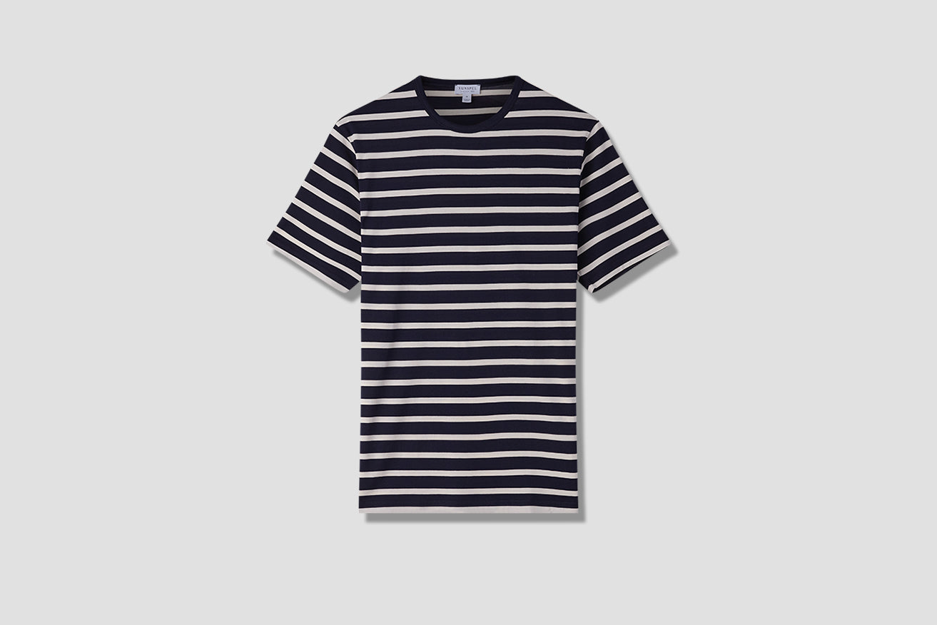 STRIPED CREW NECK T-SHIRT MTSH0001BRS Navy