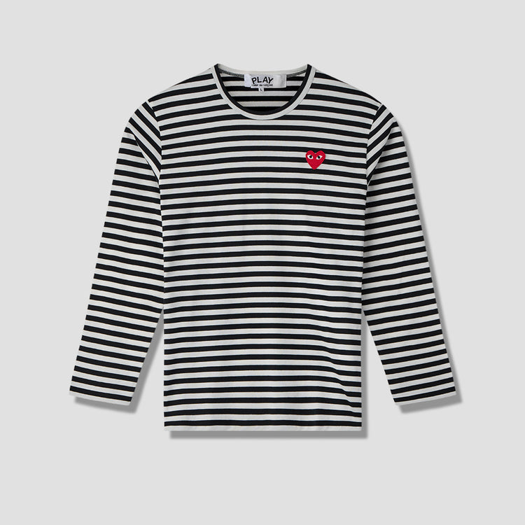 PLAY STRIPED L/S T-SHIRT RED HEART P1T164 Black