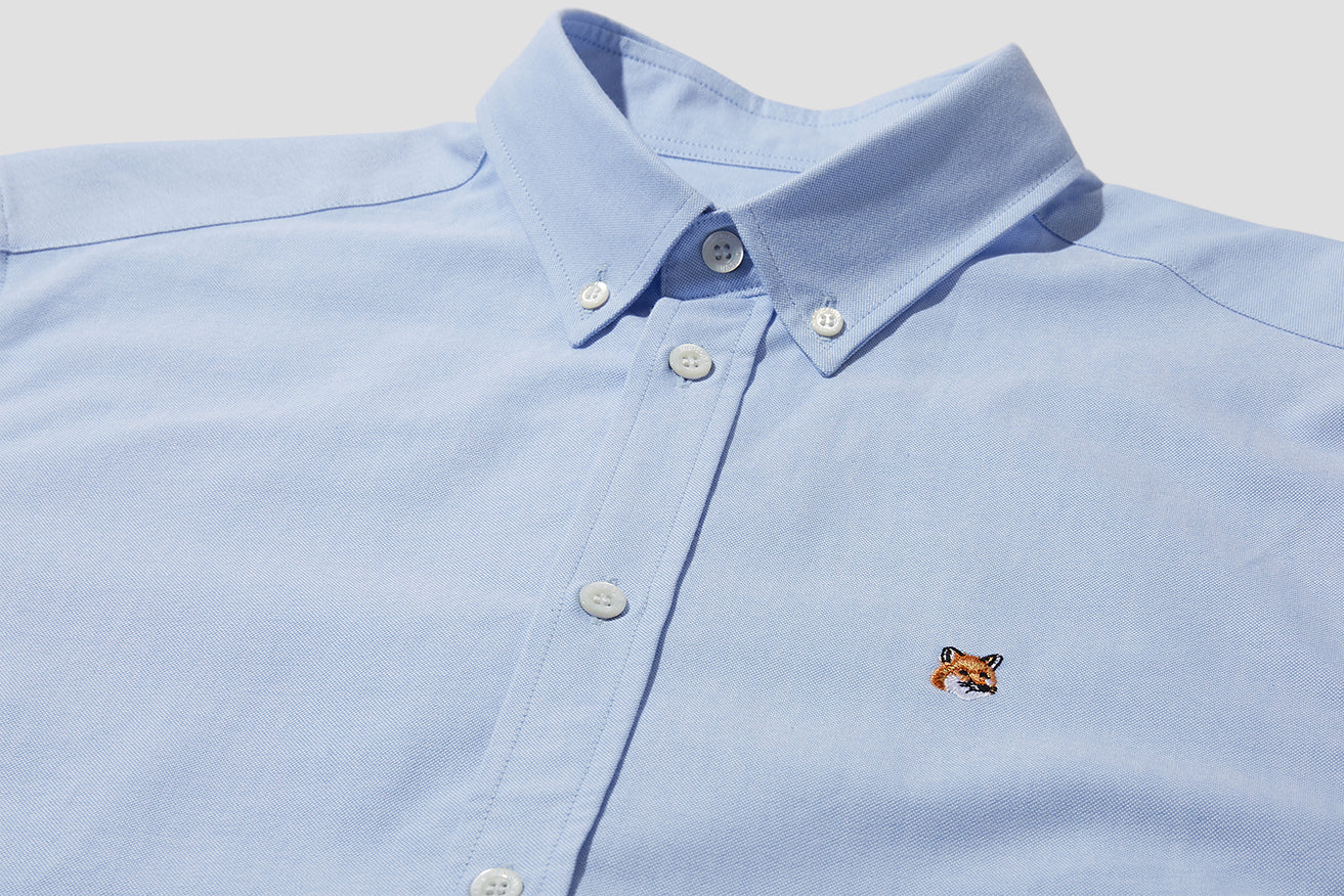 OXFORD FOX HEAD EMBROIDERY CLASSIC SHIRT BD BM00415WC0003 Light blue