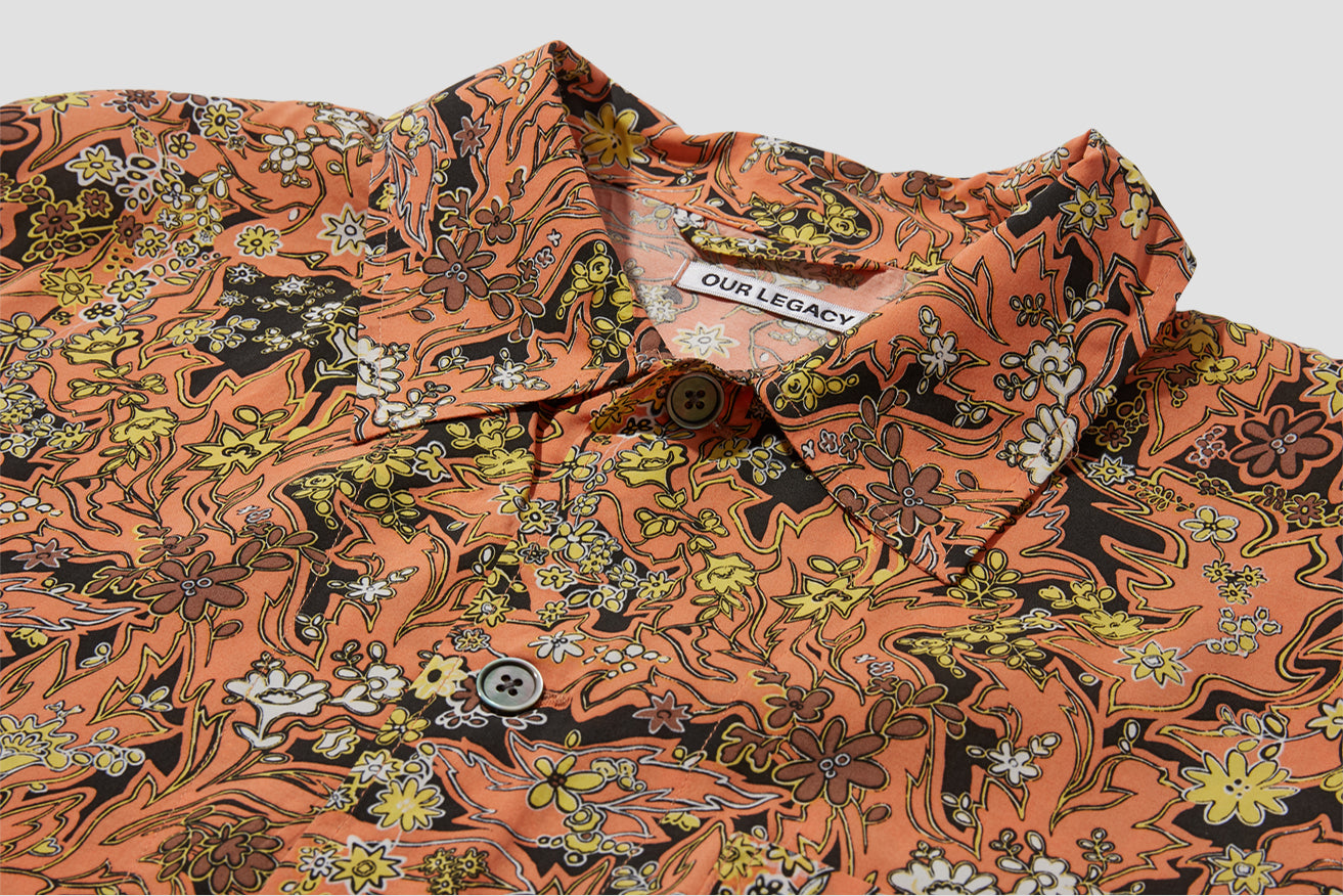 BOX SHIRT SHORT SLEEVE RED PLANTS PRINT M2192BRP Orange