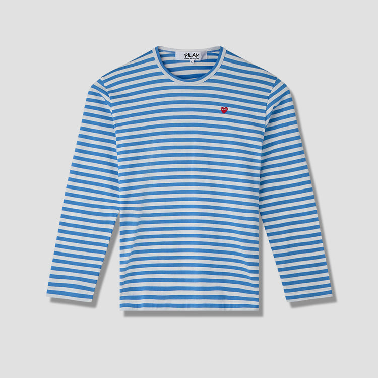 PLAY STRIPED L/S T-SHIRT SMALL RED HEART P1T218 Blue