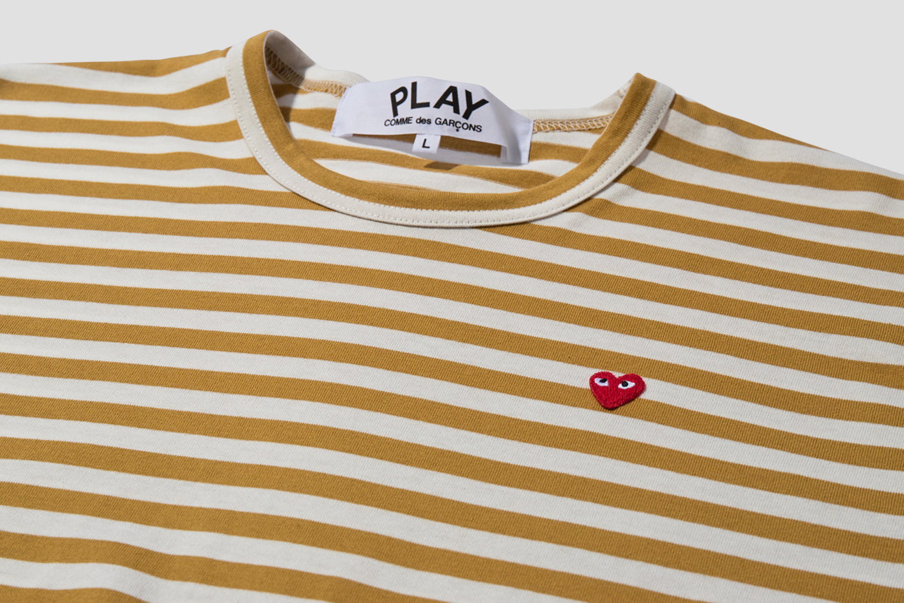 PLAY STRIPED L/S T-SHIRT SMALL RED HEART P1T218 Olive