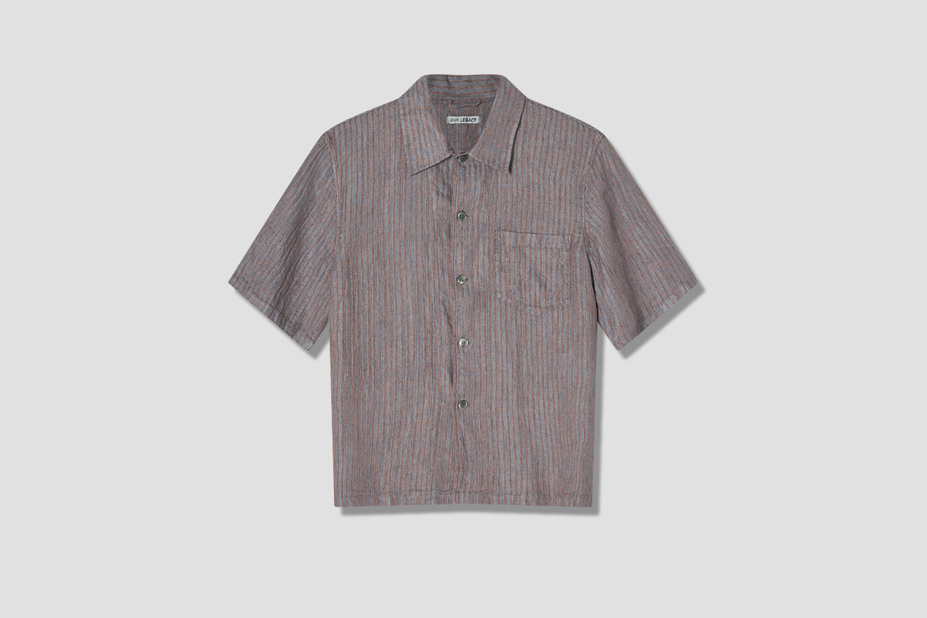 BOX SHORTSLEEVE LINEN STRIPE M2202BL Brown