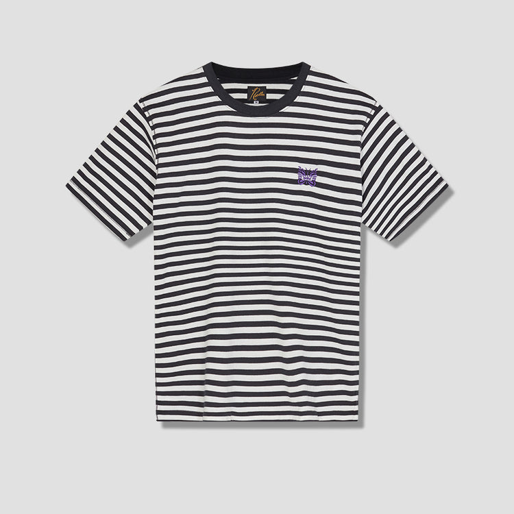 S/S PAPILLON EMB. TEE - COTTON JERSEY / STRIPE GL252B White