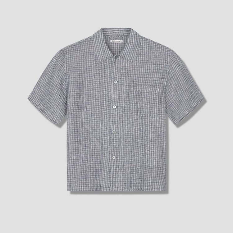 BOX SHORTSLEEVE SALT AND PEPPER STRIPE M2202BS Black