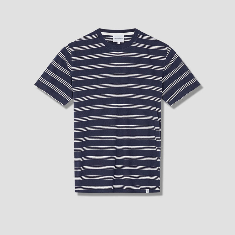 JOHANNES COTTON LINEN STRIPE N01-0457 Navy