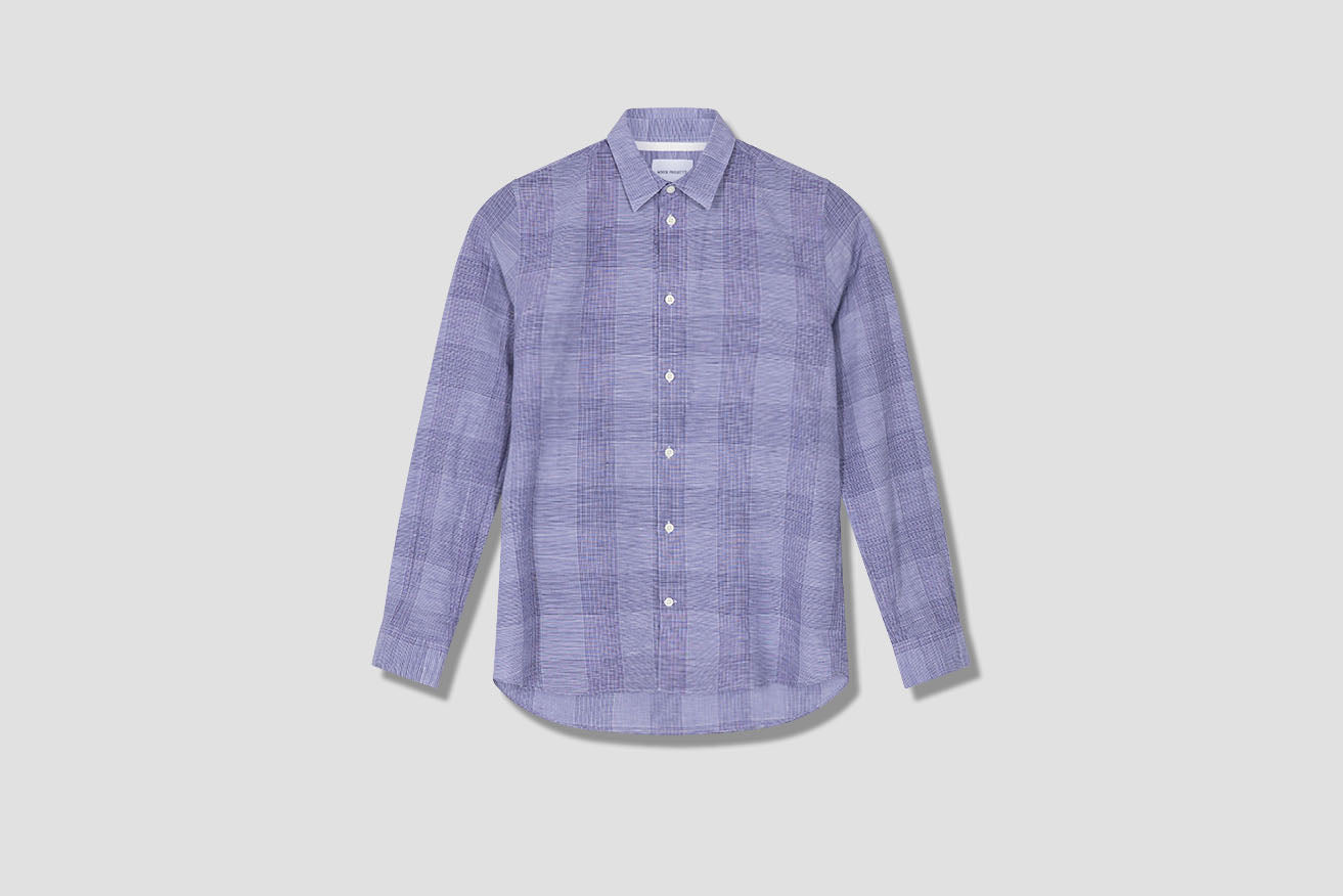 HANS COTTON LINEN CHECK N40-0522 Blue