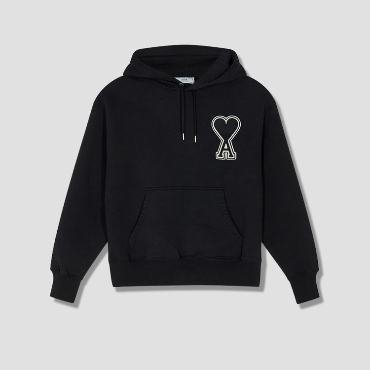 A20HJ057.747 HOODIE WITH OVERSIZE AMI DE CUR Black