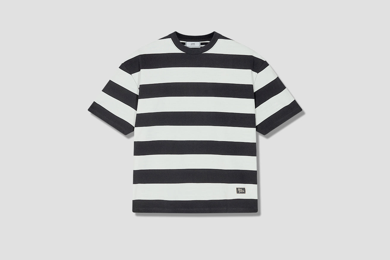 OVERSIZE STRIPED T-SHIRT CONTRASTED FRONT AND BACK A20HJ116.73 Black