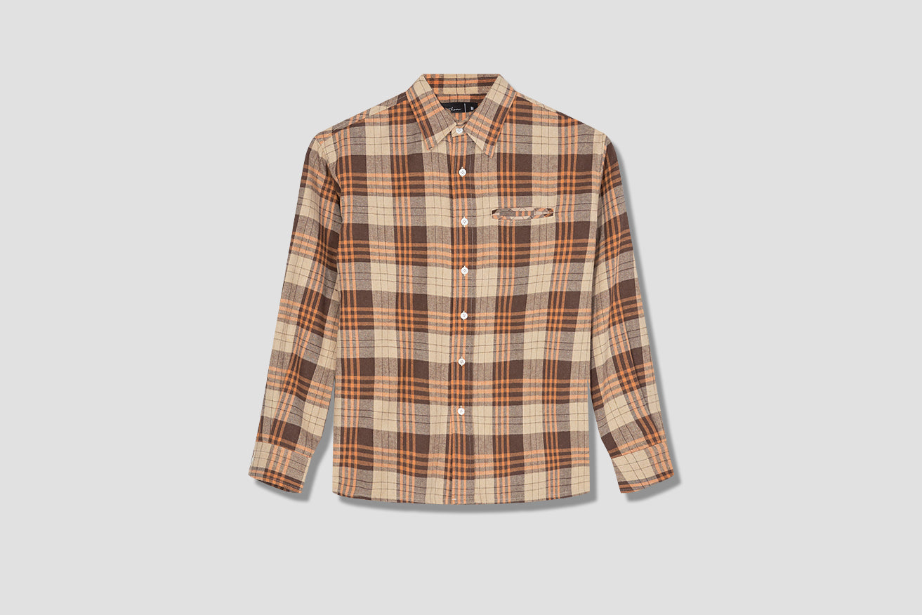 SUNDOWN CHECK SHIRT SUN/COT/BRO-SS20 Beige