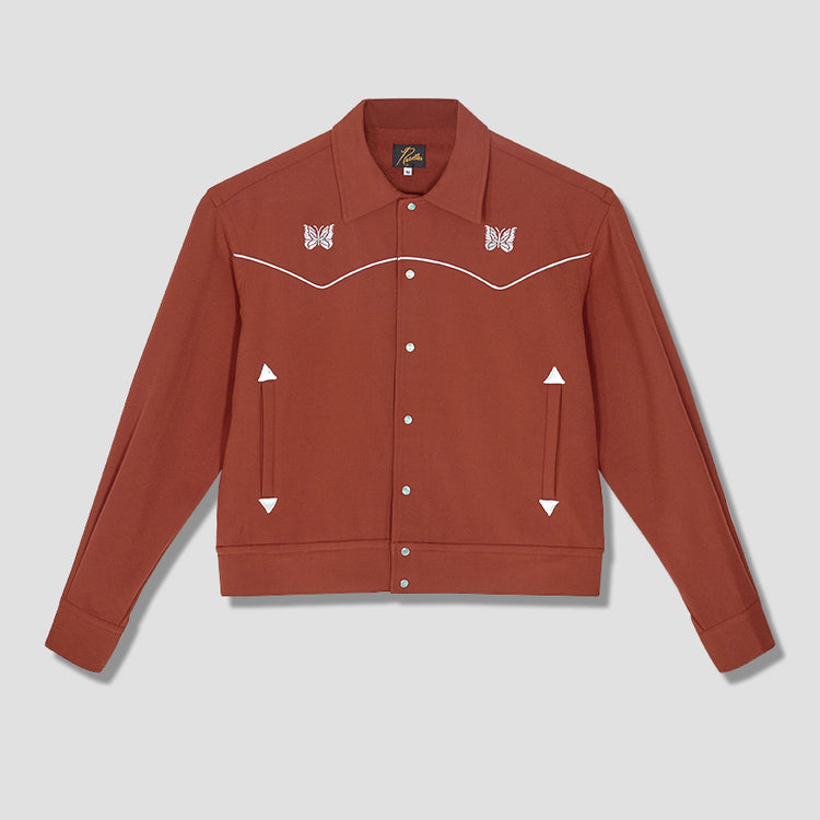 PIPING COWBOY JACKET - PE/R/PU TWILL HM134A Brown