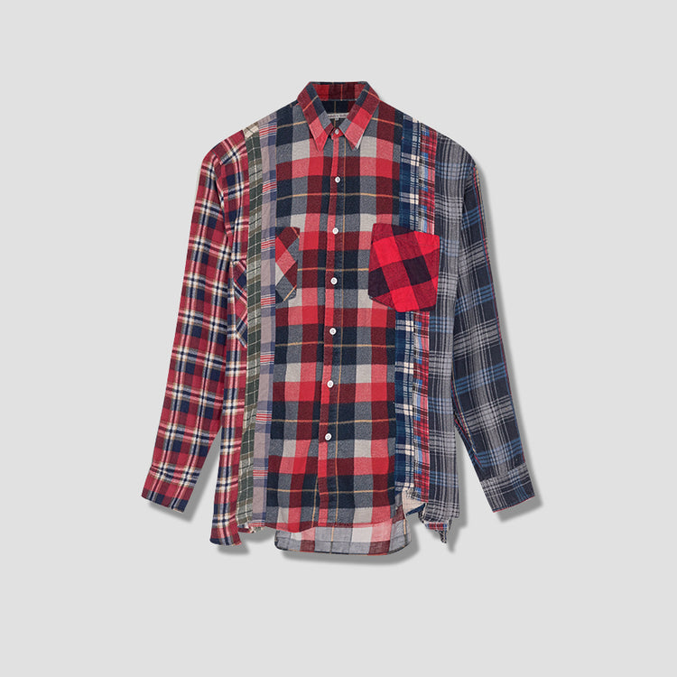 REBUILD BY NEEDLES FLANNEL SHIRT - 7 CUTS SHIRT HM300 Red