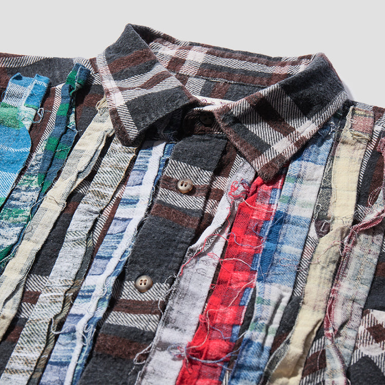 REBUILD BY NEEDLES FLANNEL SHIRT - RIBBON SHIRT HM302 Brown