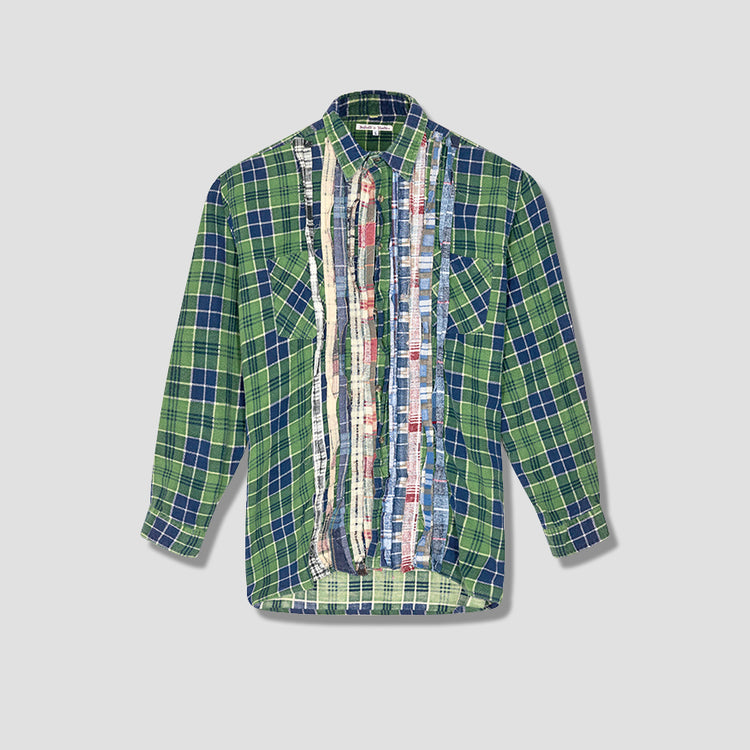 REBUILD BY NEEDLES FLANNEL SHIRT - RIBBON SHIRT HM302 Green
