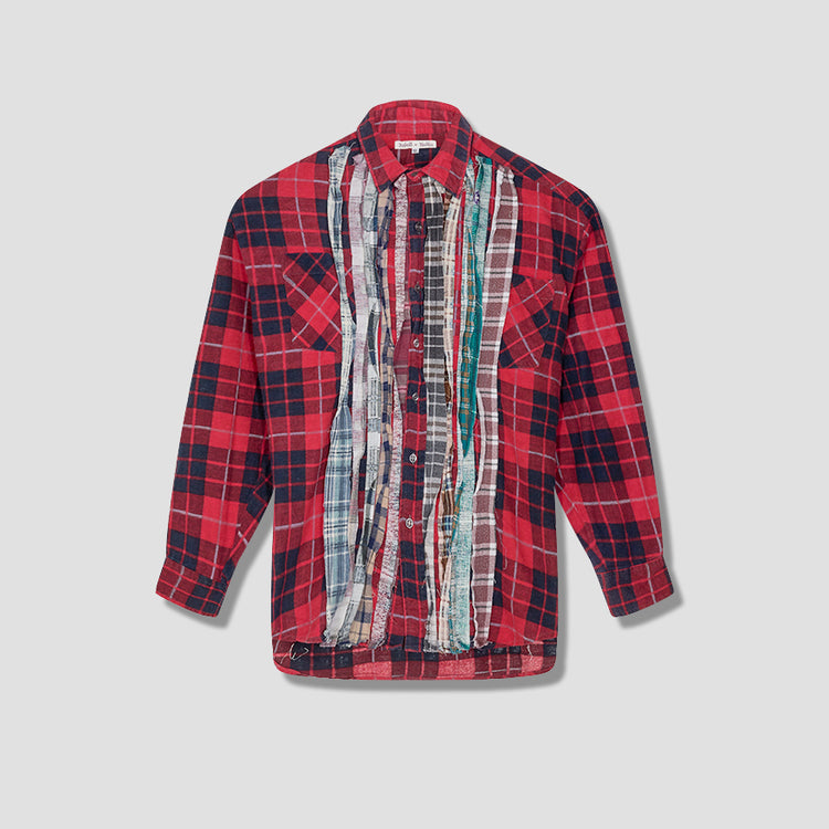REBUILD BY NEEDLES FLANNEL SHIRT - RIBBON SHIRT HM302 Navy