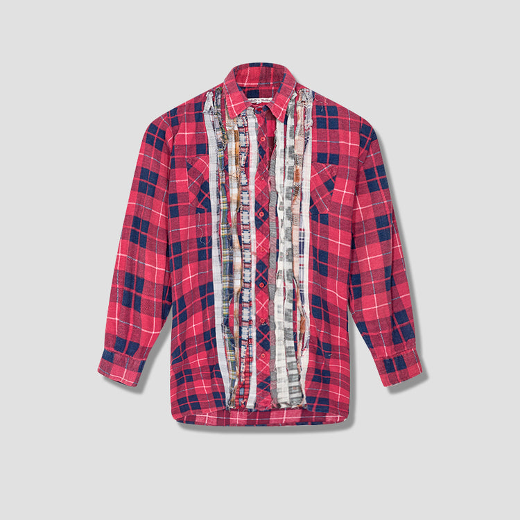REBUILD BY NEEDLES FLANNEL SHIRT - RIBBON SHIRT HM302 Red