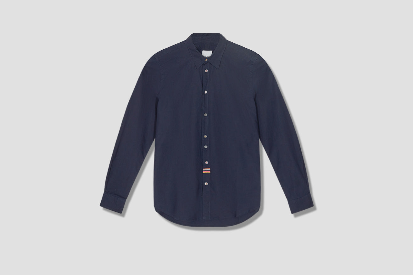 GENTS MULTI STRIPE EMB SHIRT M1R-206UE-E01218 Navy