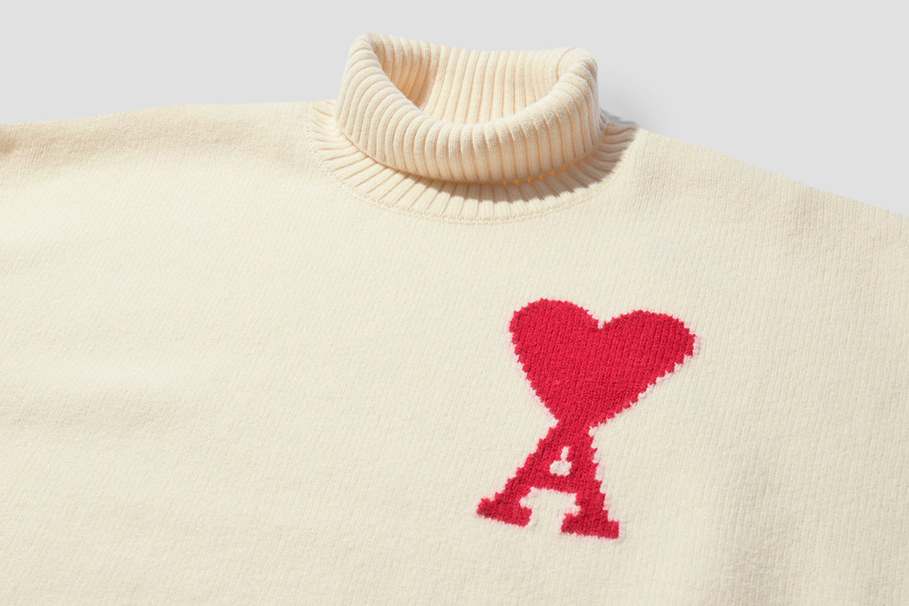 AMI DE COEUR INTARSIA OVERSIZE FUNNEL NECK FELTED SWEATER H20HK203.018 Off white