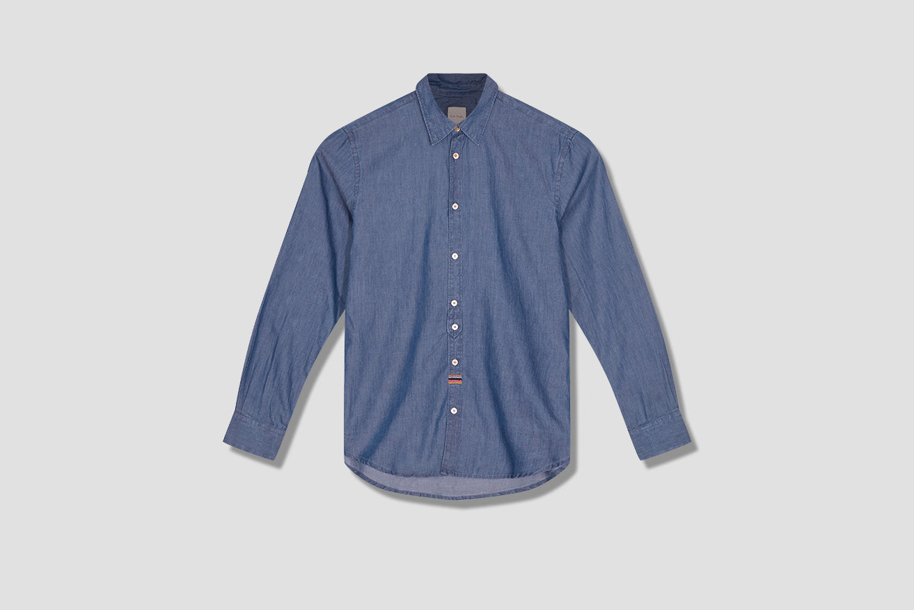 GENTS MULTI STRIPE EMBROIDERY SHIRT M1R-206UE-E00061 Blue