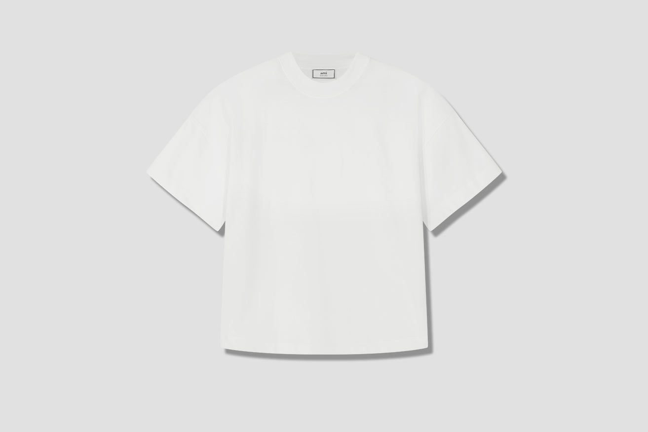 OVERSIZE FIT T-SHIRT WITH AMI DE COEUR EMBROIDERY H20HJ133.79 Off white