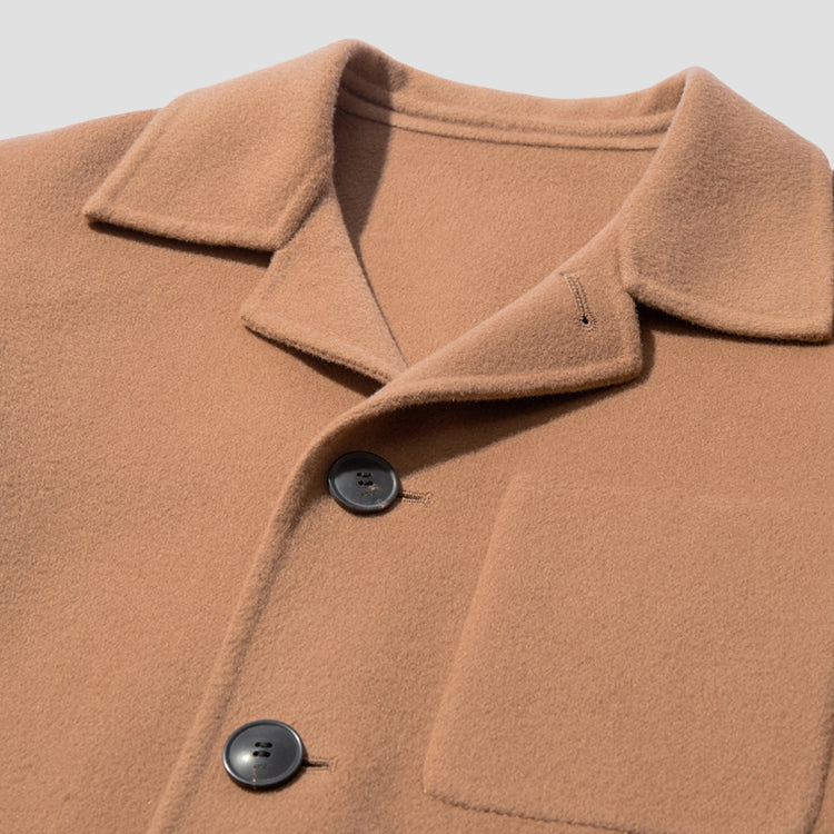 UNSTRUCTURED PATCH POCKETS BUTTONED JACKET H20HM007.251 Camel