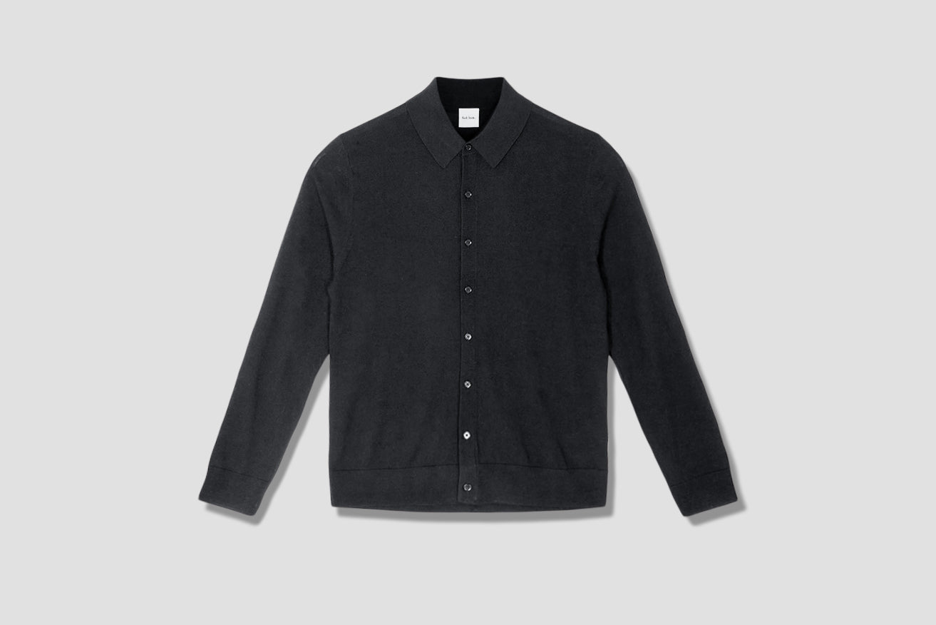 GENTS PULLOVER LS POLO BUTTON THROUGH M1R-058U-E01200 Black